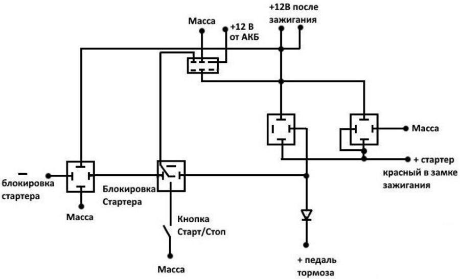 Схема подключения самодельной системы запуска двигателя без ключа